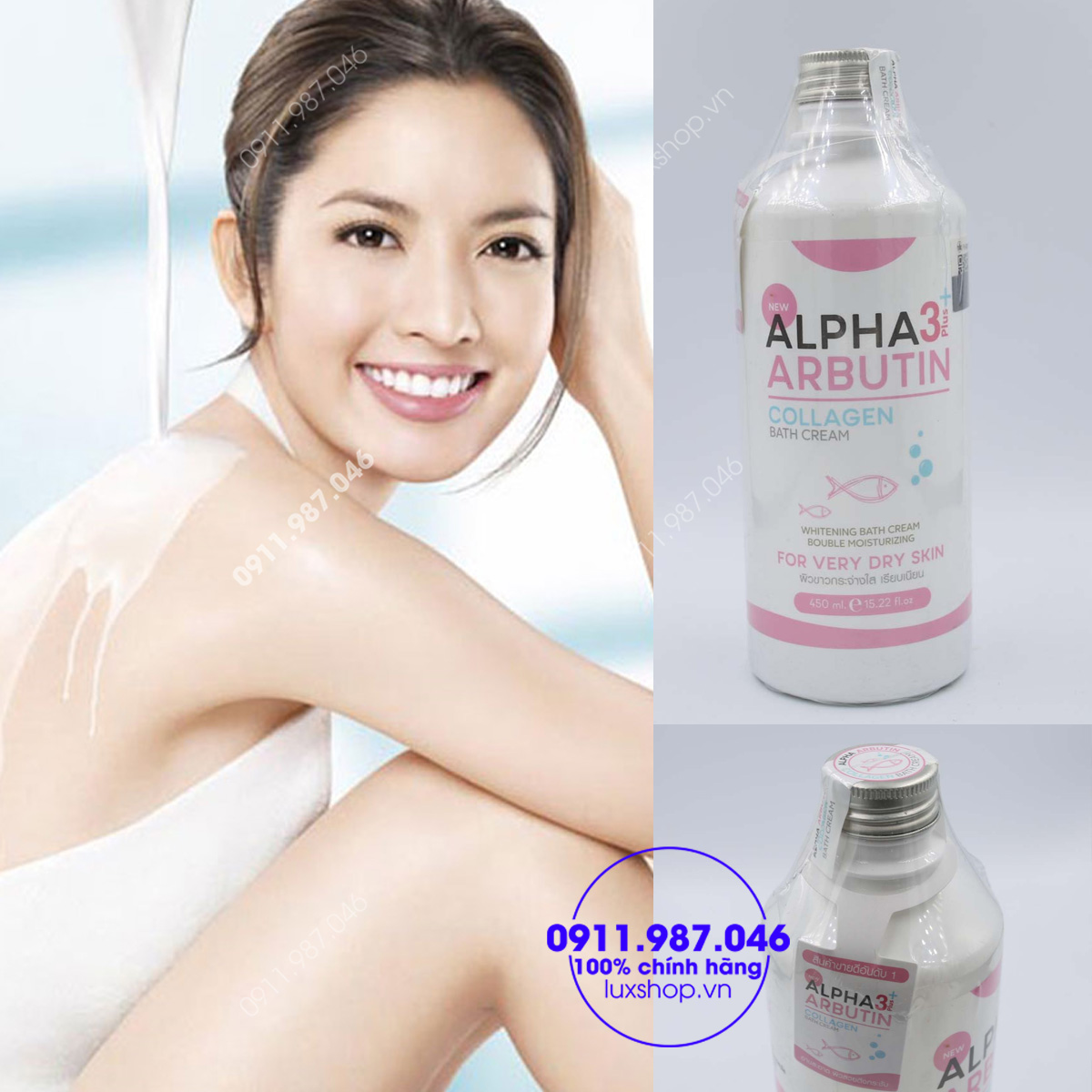 Sữa tắm trắng da Alpha Arbutin 3+ Plus Collagen Bath Cream chính hãng (Thái Lan)