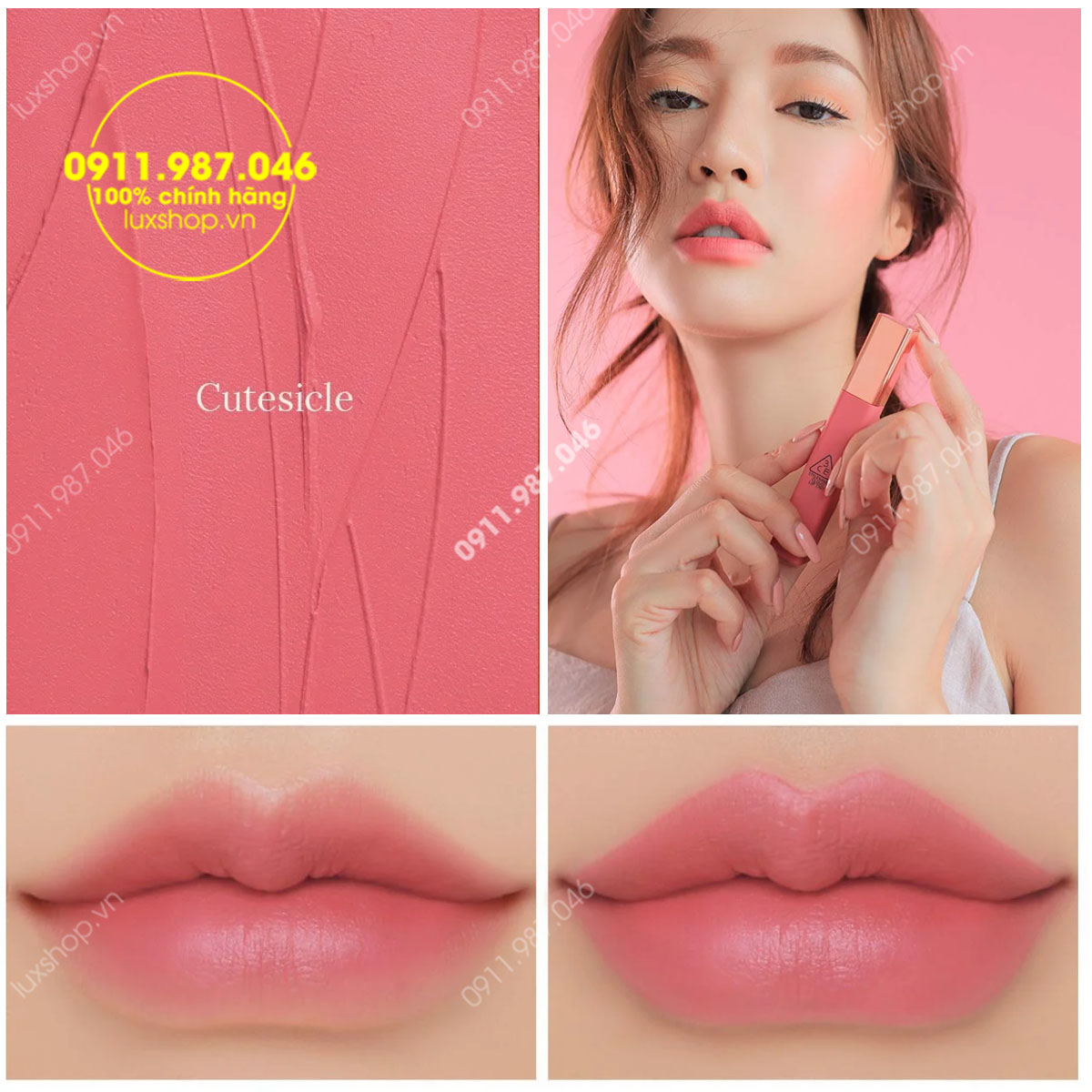 Son 3CE Kem Cloud Lip Tint Màu Cutesicle
