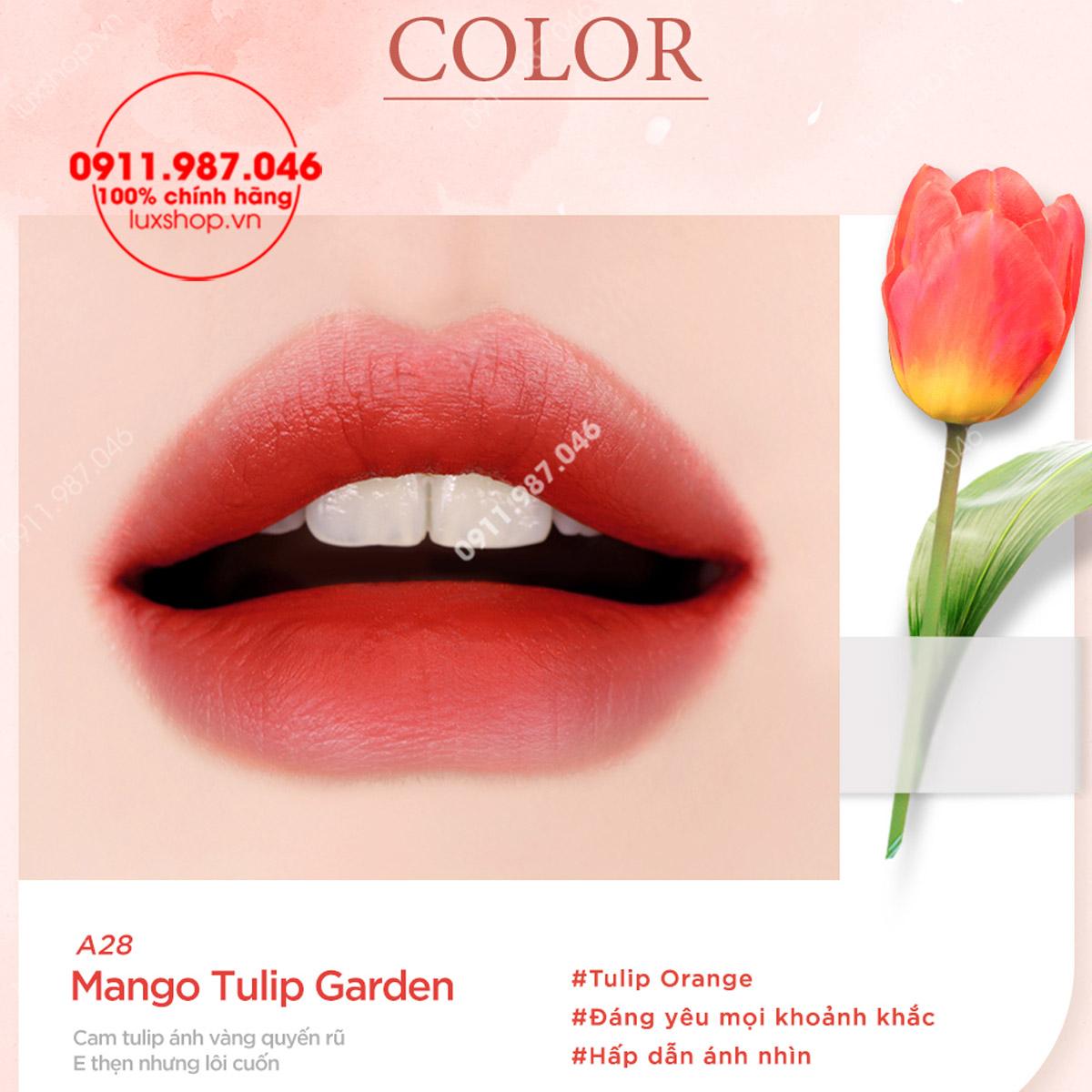 Son kem lì Black Rouge Version 6 Blueming Garden cây nắp xanh/vỏ xanh chính hãng (Hàn Quốc)