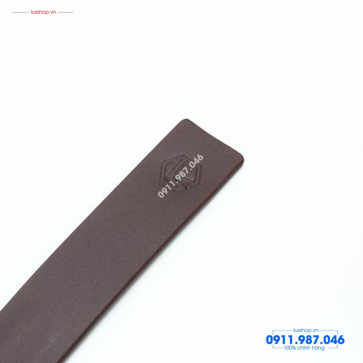 Thắt lưng nam da bò nguyên miếng đầu hợp kim không gỉ mặt đen viền vàng - L101924