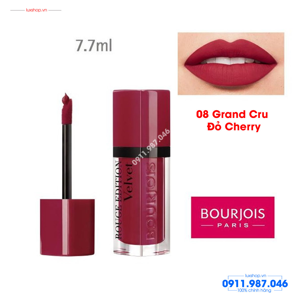son-kem-li-velvet-08-grand-cru-do-cherry-bourjois-rouge-edition-chinh-hang-phap