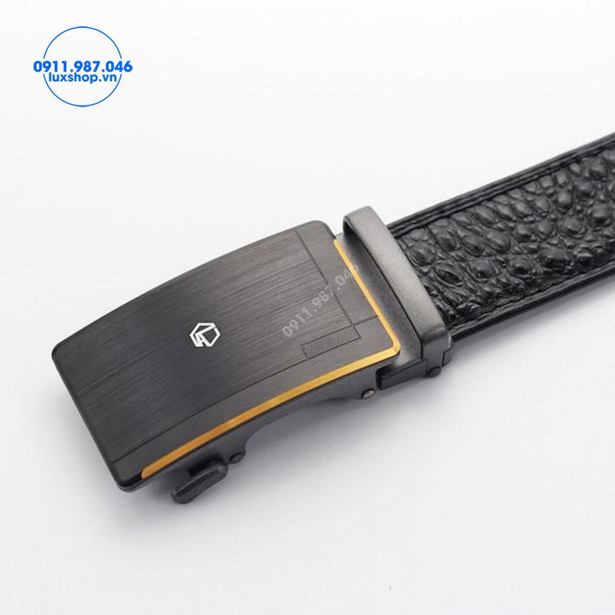 Thắt lưng nam da bò vân cá sấu khóa tự động đầu hợp kim cao cấp (3.5cm x 115 - 125cm) - L101975