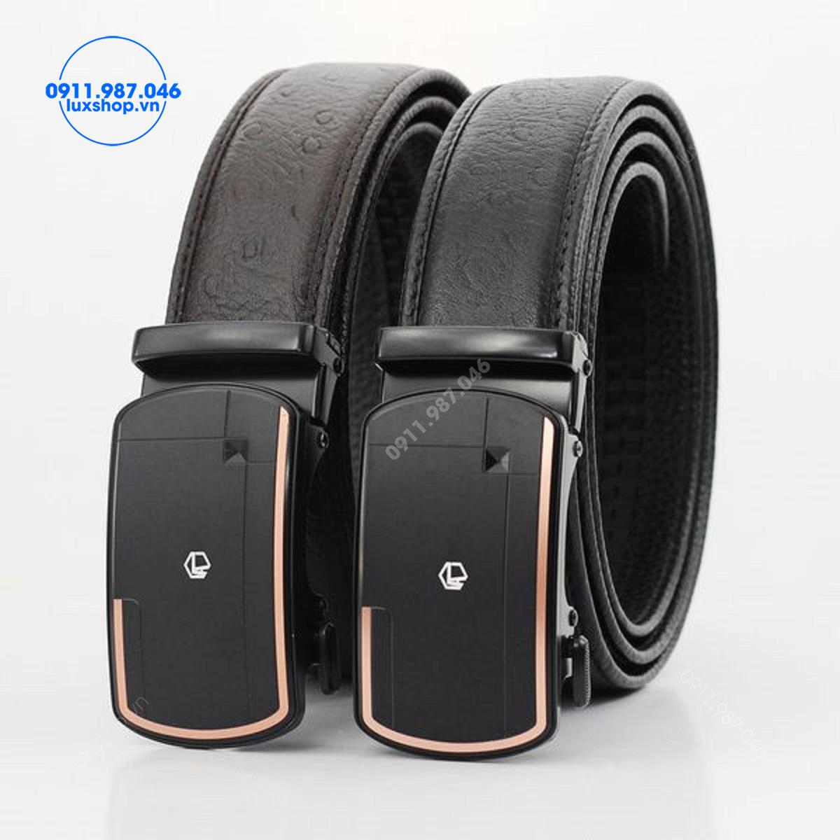 Thắt lưng nam da bò vân đà điểu đầu hợp kim khóa tự động (3.5cm) - L101976