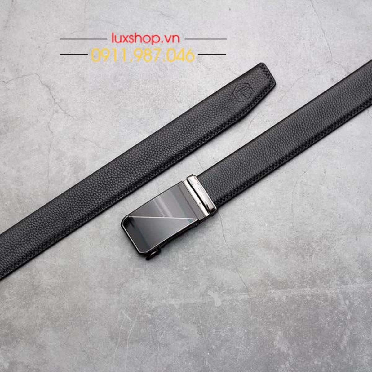 Thắt lưng nam da bò Ý nhập khẩu đầu hợp kim họa tiết sọc chéo - L101935